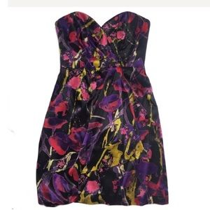 Milly of New York Strapless Silk Floral Dress 2